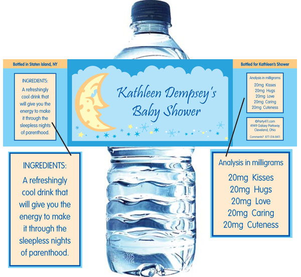 Baby Shower Stars And Moons Water Bottle Label