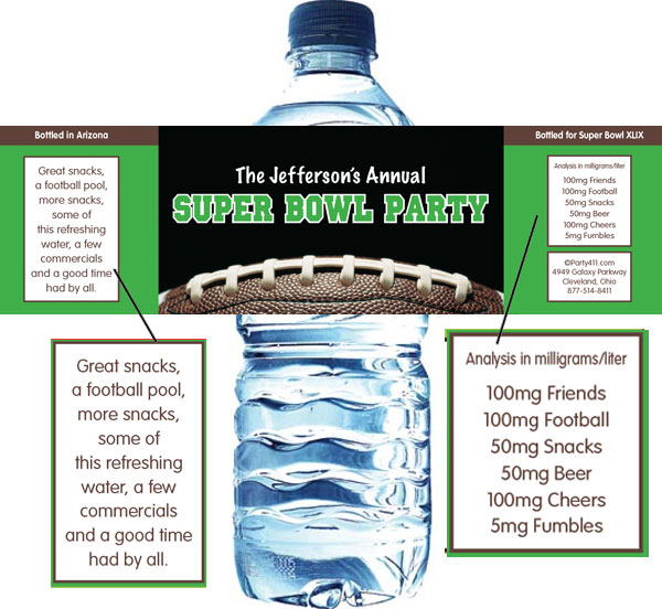 Football Party Water Bottle Label