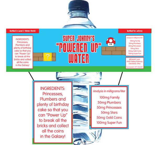 Birthday Super Mario Brothers Water Bottle Label