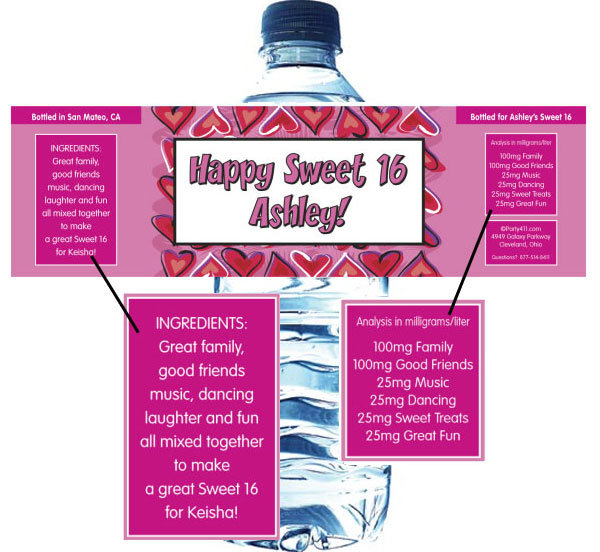 Red and Pink Hearts Water Bottle Label
