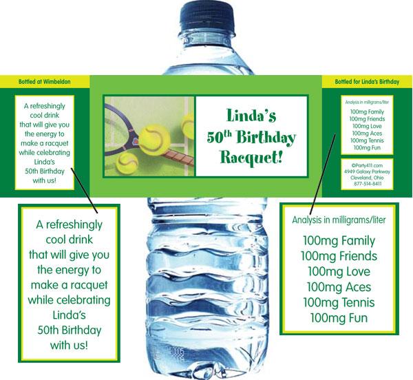 Tennis Party Water Bottle Label