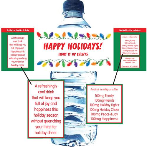 Christmas Lights Water Bottle Label
