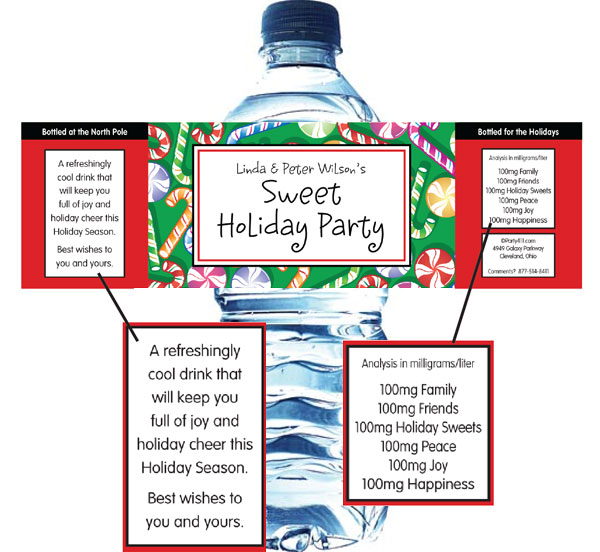 Christmas Candy Water Bottle Label