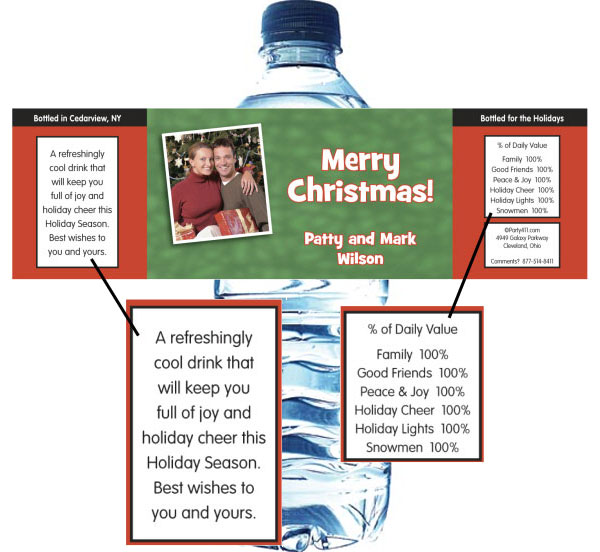 Christmas Photo Water Bottle Label