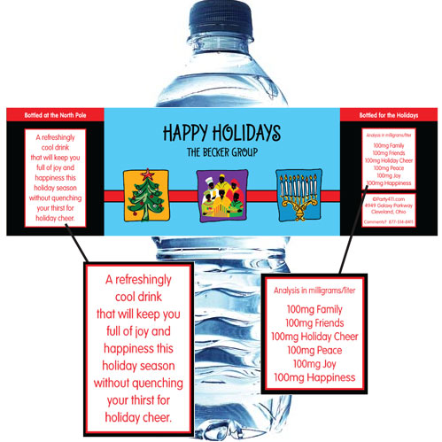Winter Holidays Trio Water Bottle Label