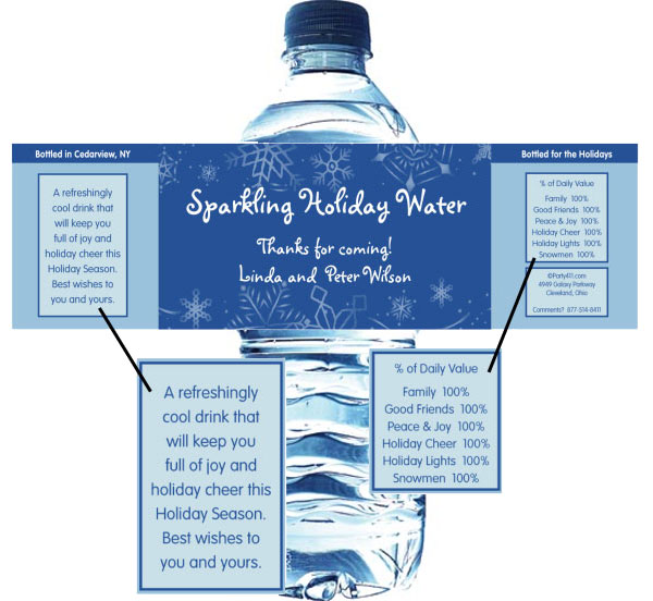 Winter Theme Water Bottle Label