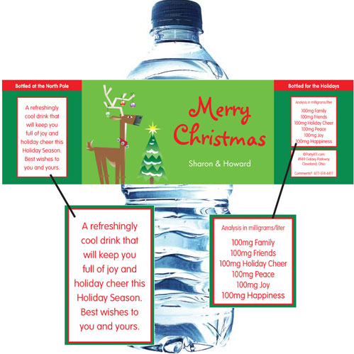 Christmas Reindeer Water Bottle Label