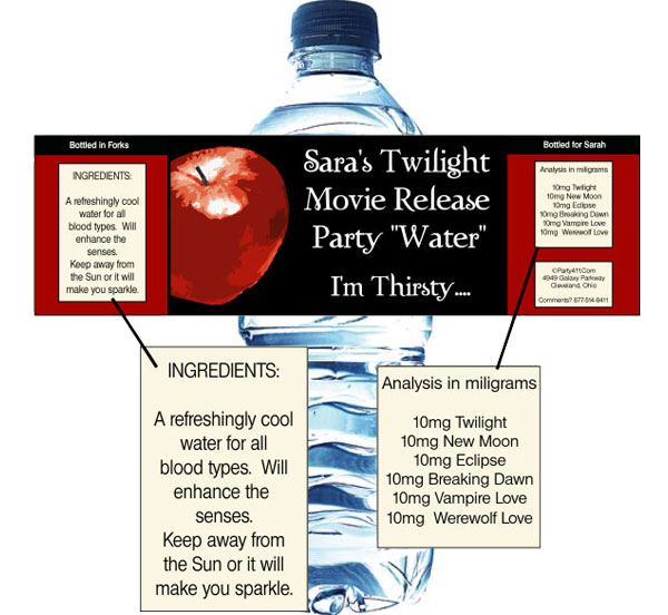 Twilight Water Bottle Labels