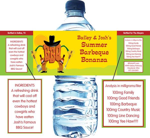 BBQ Western Water Bottle Label
