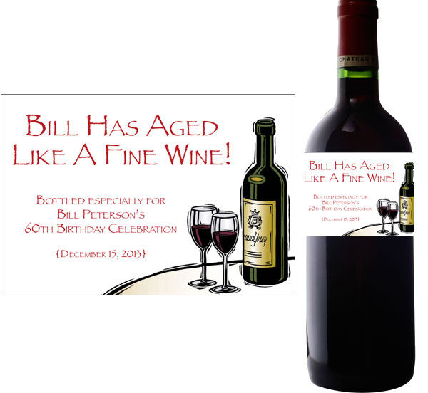 Birthday Wine Theme Wine Bottle Label