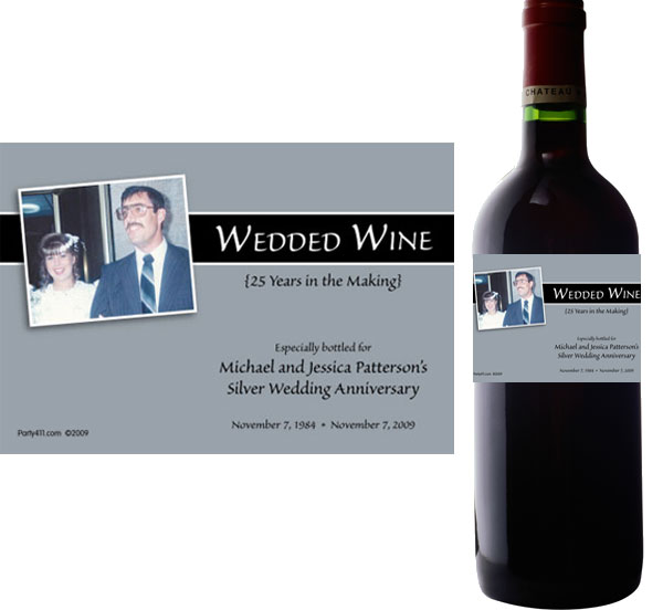 25th Anniversary Theme Bottle Label, Wine
