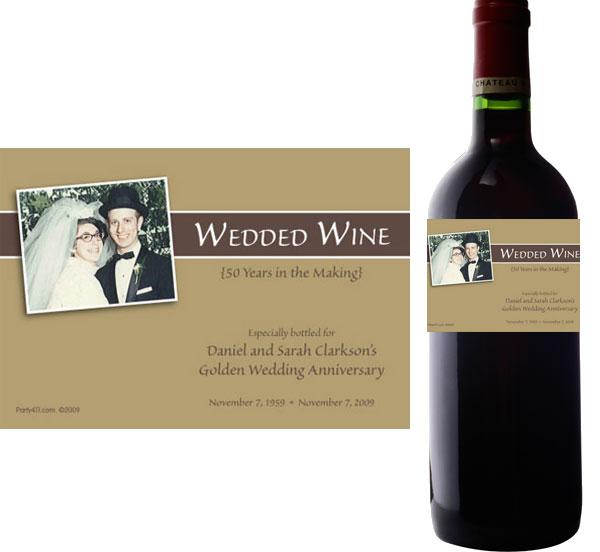 50th Anniversary Theme Bottle Label, Wine