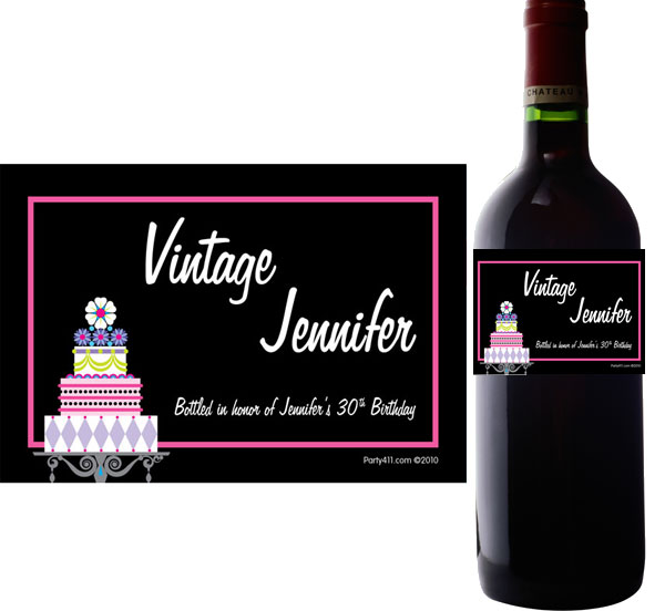 Birthday Cake Wine Bottle Label