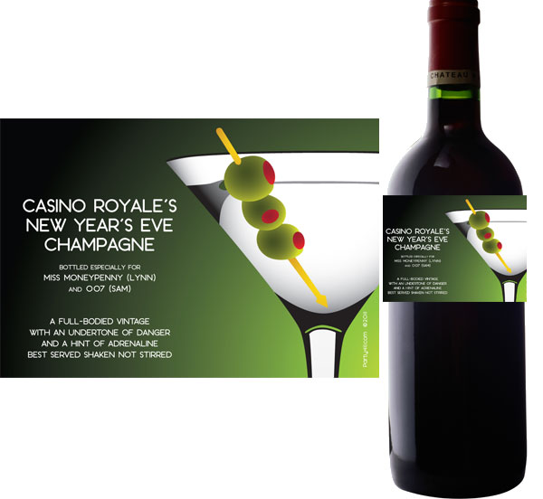 Casino Royale, Martini Theme Wine Champagne Bottle Label