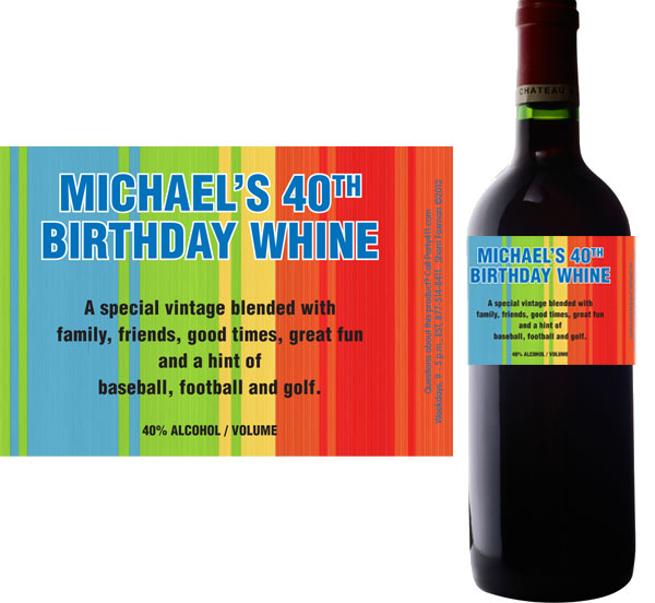Birthday Celebrate Wine Bottle Label