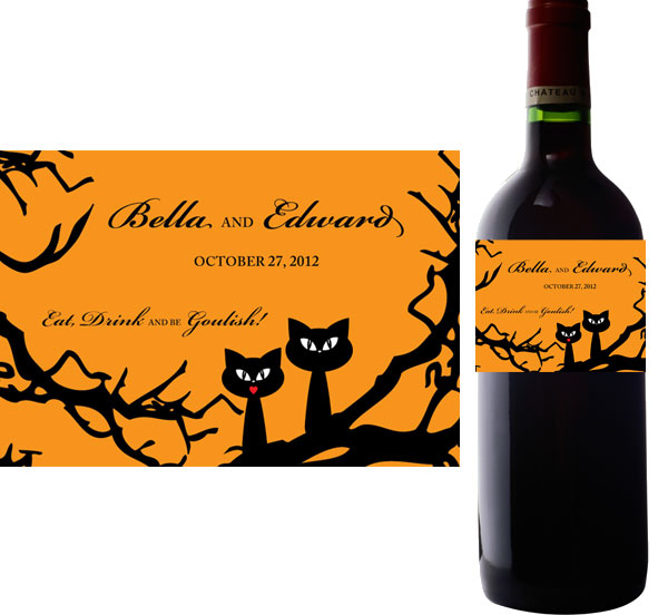 Halloween Wedding Wine Bottle Label