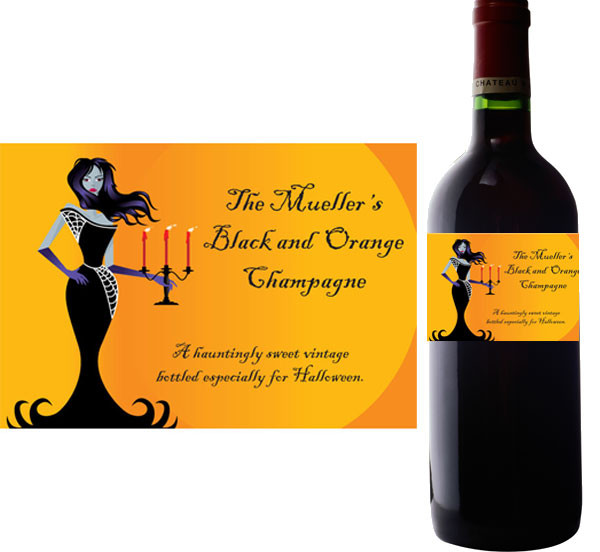 Halloween Ball Wine Bottle Label