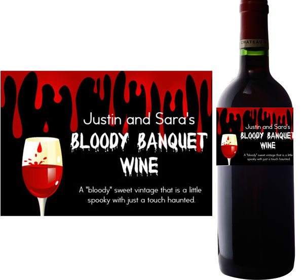 Halloween Bloody Banquet Wine Bottle Label