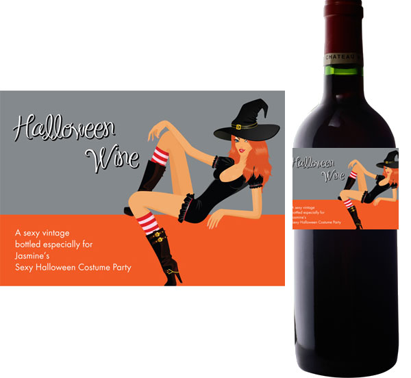 Halloween Sexy Party Wine Bottle Label