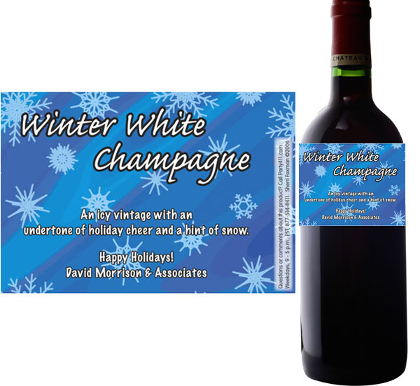 Winter Snow Wine Bottle Label