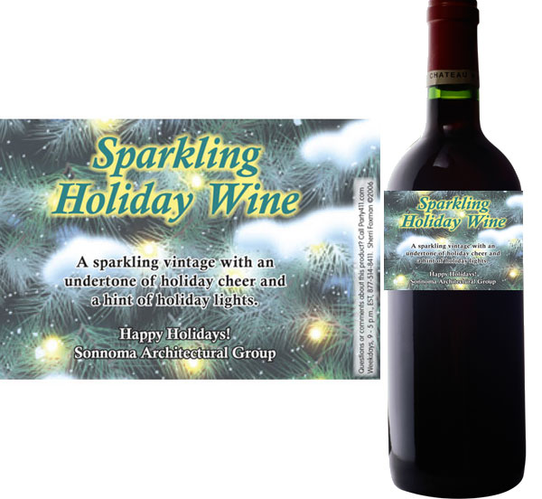 Winter Holidays Theme Wine Champagne Bottle Label