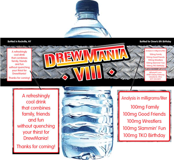 Wrestling Party Water Bottle Label