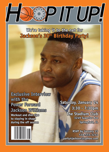 Basketball Magazine Cover Invitation – Magazine Cover Birthday Invitations
