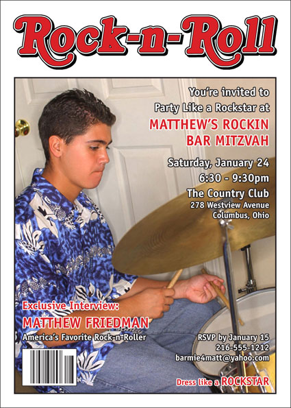 Rock 'n Roll Magazine Cover Invitation
