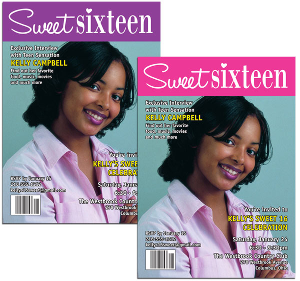 A Custom Sweet 16 Invitation, Magazine Cover