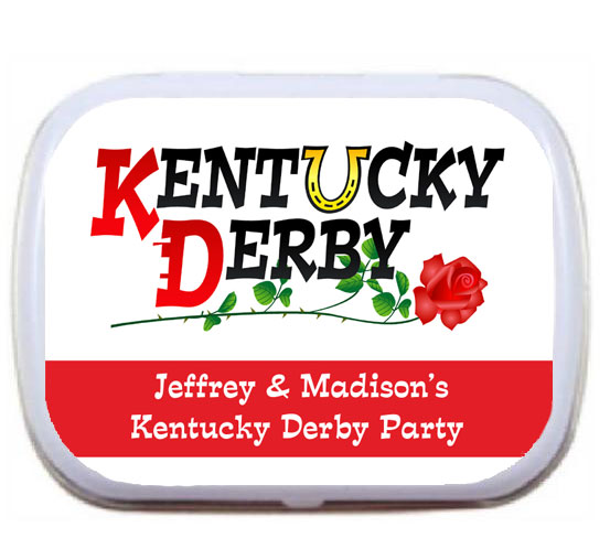 Kentucky Derby Party Theme Mint and Candy Tin