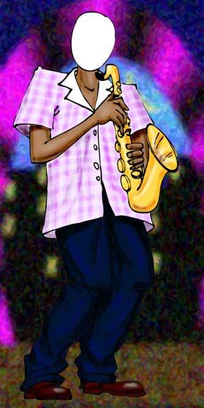 Jazz Player Photo Op, Pink Shirt