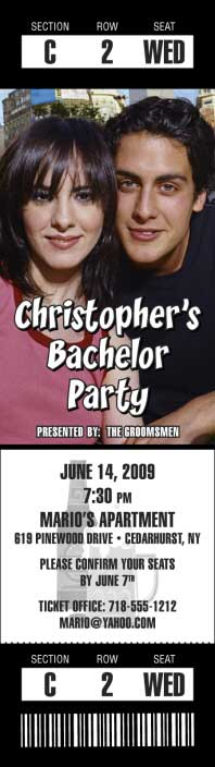 Bachelor Photo Ticket Invitation