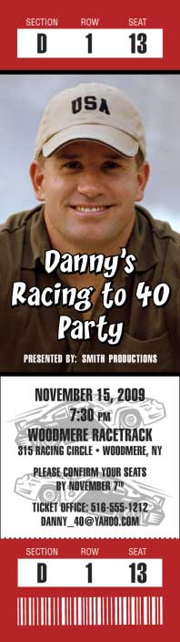 Racing Photo Ticket Invitation