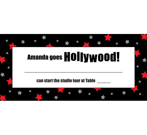 Hollywood Star Seating Card