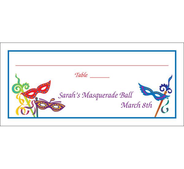 Mardi Gras Masquerade Masks Seating Card
