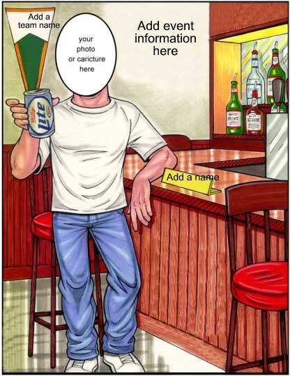 Bar Man Semi Custom Caricature