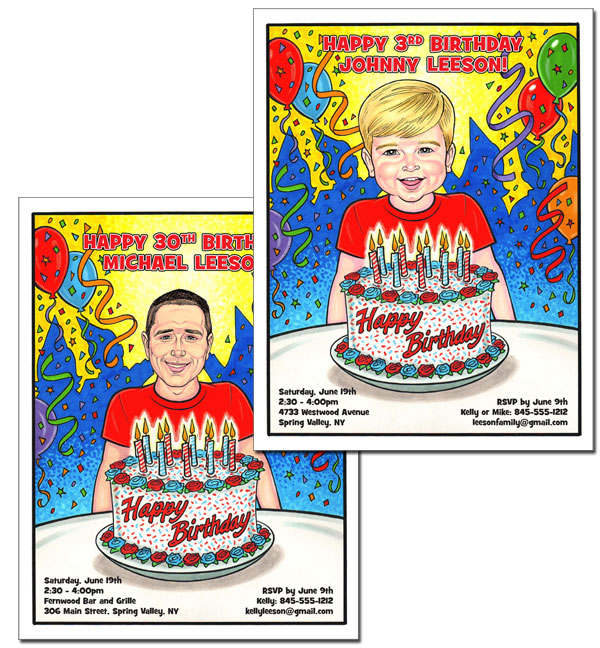 Birthday Semi Custom Caricature, Male