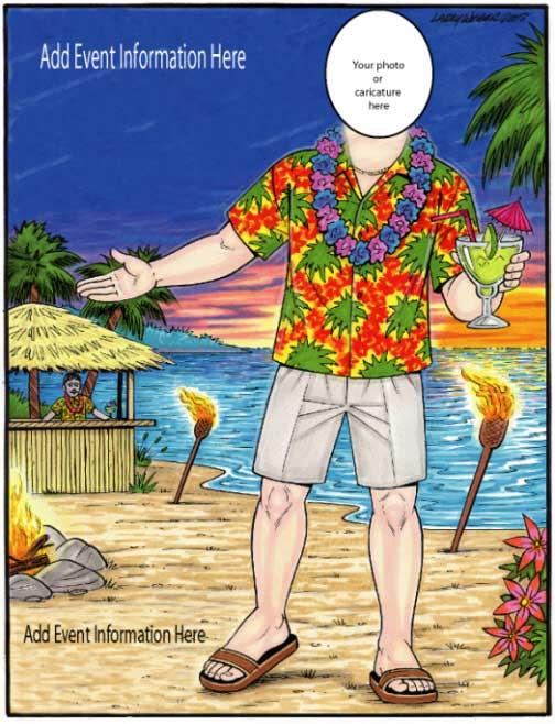 Beach Man Semi Custom Caricature