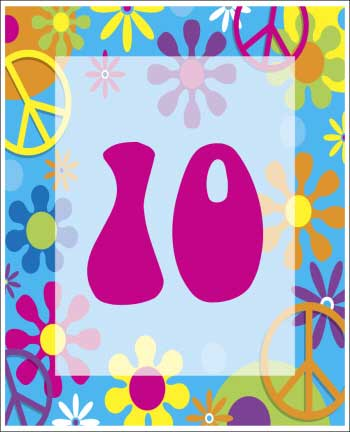 Hippie Retro Theme Table Number