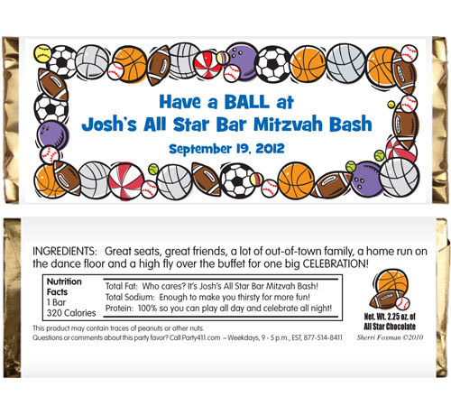 Sports Balls Theme Candy Bar Wrapper