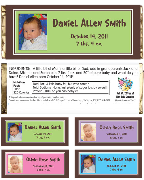 Baby Photo Announcement Candy Bar Wrapper