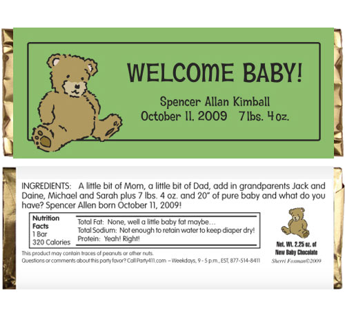 Brown Bear Candy Bar Wrapper