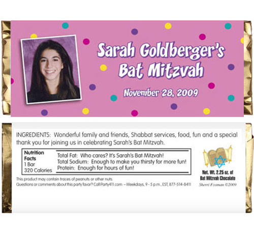 Bat Mitzvah Candy Bar Wrapper