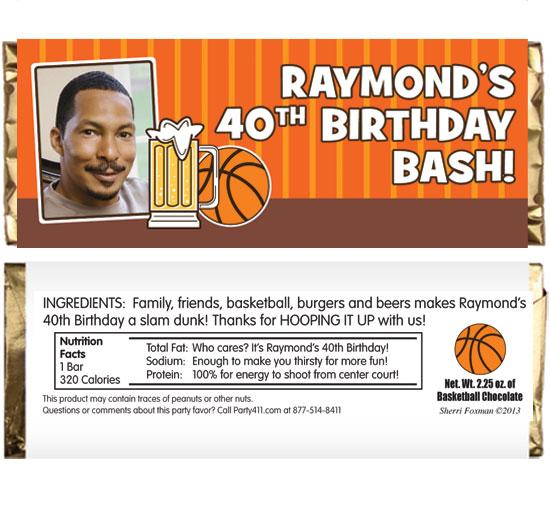 Basketball Celebration Theme Candy Bar Wrapper