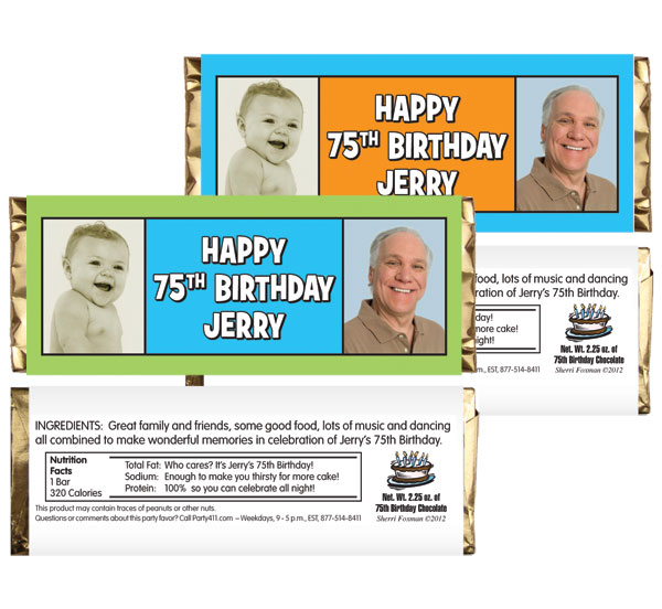Birthday Double Photo Blue Theme Candy Bar Wrapper