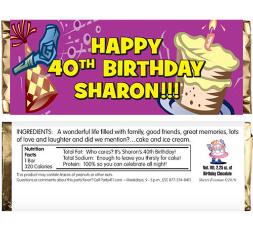 Birthday Horn Candy Bar Wrapper