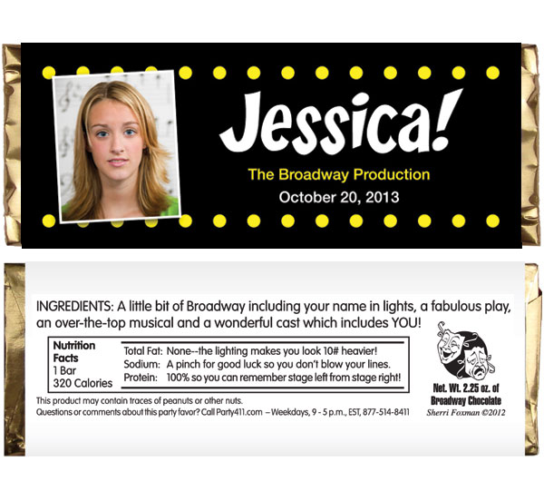 Broadway Lights Theme Candy Bar Wrapper