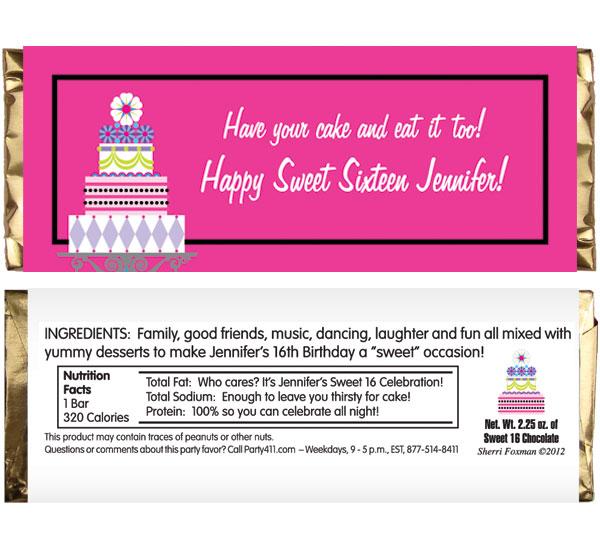 Birthday Cake Sweet 16 Theme Candy Bar Wrapper