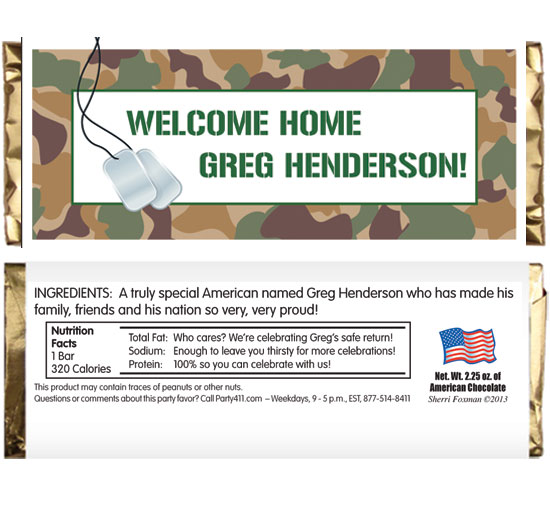 Camouflage Theme Candy Bar Wrapper