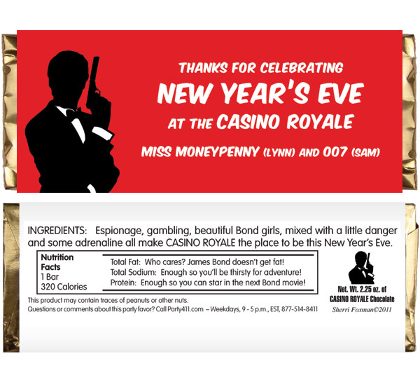 Casino Royale Theme Candy Bar Wrapper